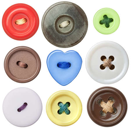 Buttons: Various sewing buttons with a thread.