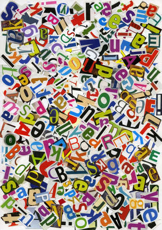 mixed media: Handmade alphabet collage of magazine letters Stock Photo