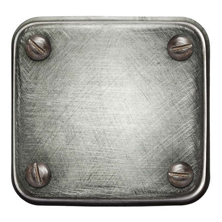 Square shape metal plate texture with screws.