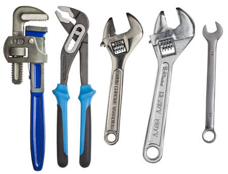 Adjustable wrenches, spanners isolated on white  photo