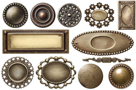 Vintage metal frames, buttons, isolated. Stock Photo - 13179938
