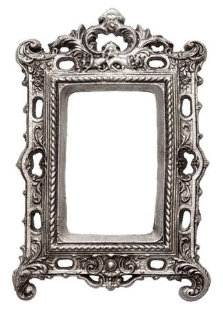 medallion: Vintage metal picture frame, isolated Stock Photo
