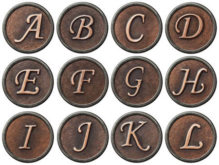 Aged metal vintage alphabet letters  photo