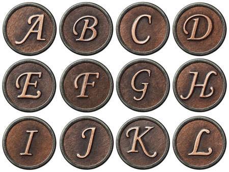 Aged metal vintage alphabet letters  photo