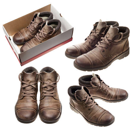 Pair of brown leather shoes set. photo