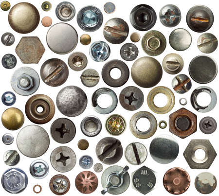 head gear: Screw heads, nuts, rivets and other metal details.