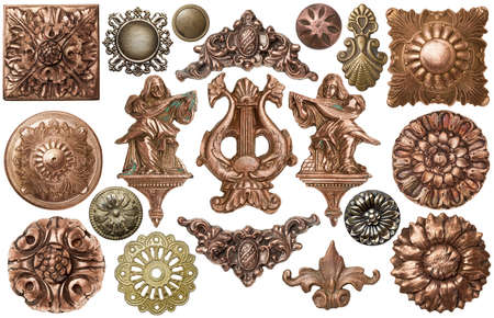 medallion: Vintage metal frames, buttons, decor elements.