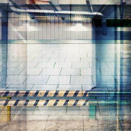 multiple exposure: Progettato collage di esposizione multipla. Background industriale. Archivio Fotografico