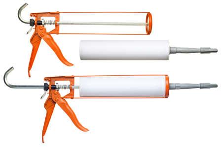 caulk: Silicone glue gun, isolated on white