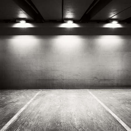 Empty parking lot wall. Urban, industrial background. photo