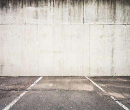 parking lot: Concrete parking lot wall Stock Photo