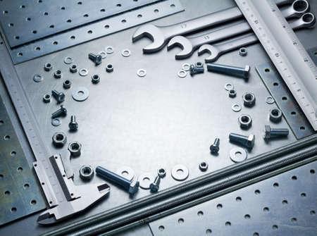 Metal work tools, steel parts. photo