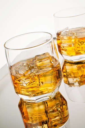 bourbon: Whiskey on the rocks  Stock Photo