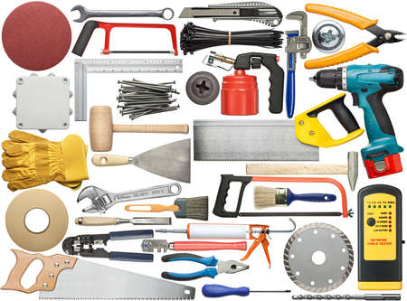 Tools for wood, metal and other construction work. photo