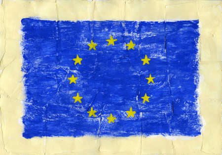 Hand painted acrylic  flag of European Union, EU. photo