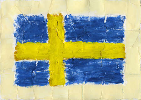 Hand painted acrylic flag Sweden photo