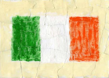 Hand painted acrylic flag of Ireland photo