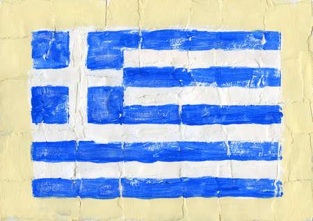 greek flag: Hand painted acrylic flag of Greece. Stock Photo