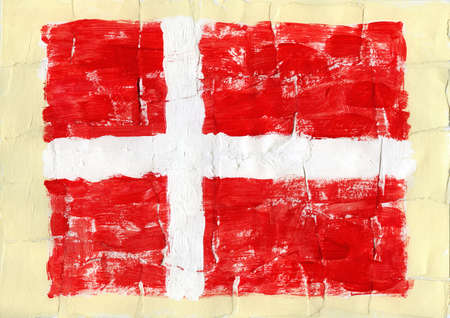 Hand painted acrylic flag of Denmark photo