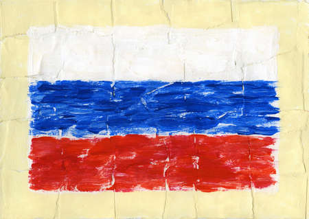 Hand painted acrylic flag of Russia photo