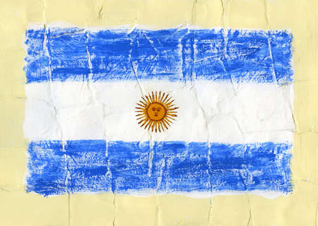 Hand painted acrylic flag of Argentina photo