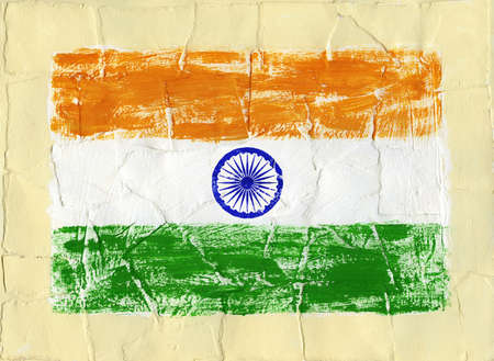 Hand painted acrylic flag of India Stock Photo - 14725052