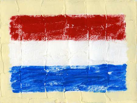 Hand painted acrylic flag of Netherlands Stock Photo - 14725045