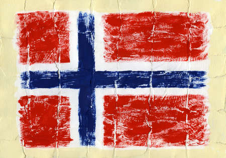 Hand painted acrylic flag of Norway Stock Photo - 14725062