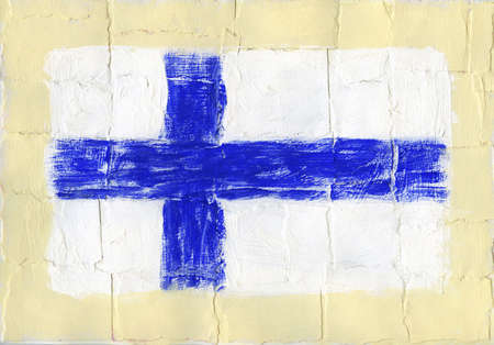 Hand painted acrylic flag of Finland Stock Photo - 14725053