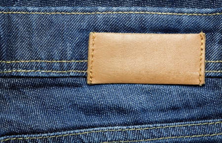 inner wear: Leather jeans label sewed on jeans