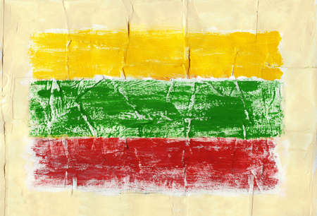 Hand painted acrylic flag of Lithuania Stock Photo - 14725065