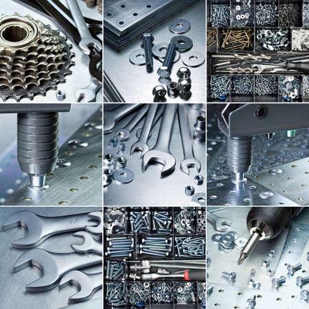 herramientas de construccion: Las herramientas de metal taller, conjunto de suministros. Foto de archivo