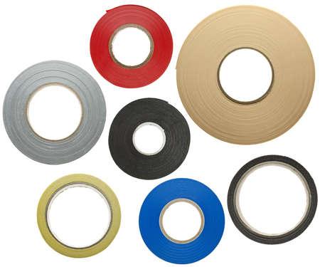 cintas: Varias cintas adhesivas aislados sobre fondo blanco Foto de archivo