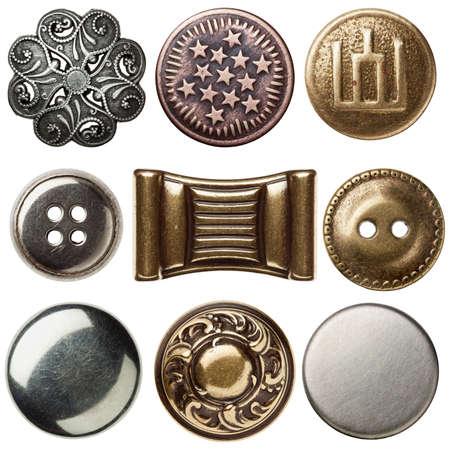 Vintage coser botones de metal, aisladas Foto de archivo - 14752767
