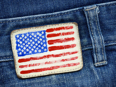 USA flag added on a blue jeans label photo