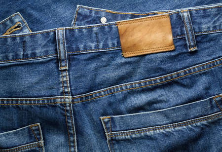 clothing tag: Blue jeans trousers Stock Photo