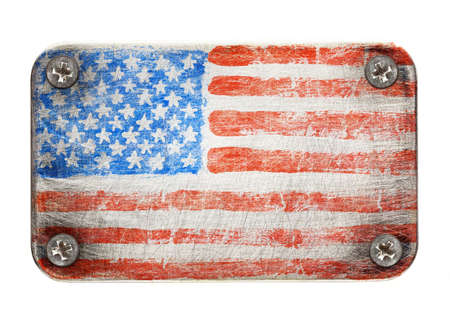 USA flag on metal texture photo