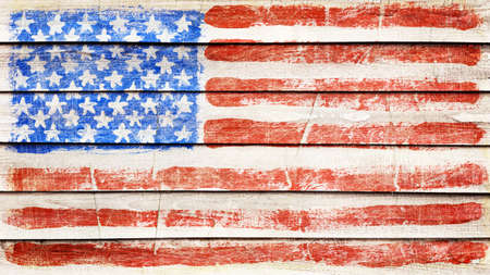 USA flag on wood texture photo