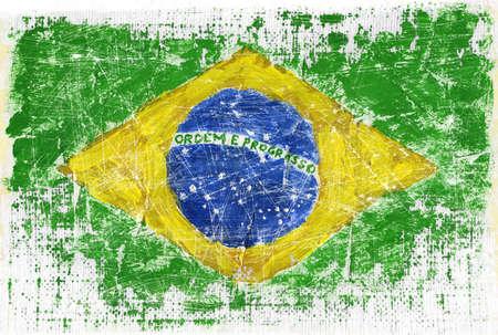 brazilian flag: Grunge flag of Brazil