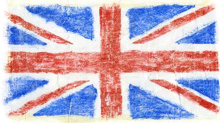 drapeau angleterre: Peint à la main en acrylique Grande-Bretagne, Royaume-Uni drapeau
