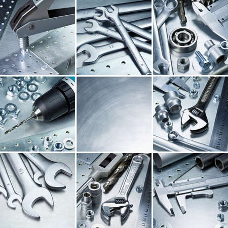Metal workshop tools, supplies set  photo