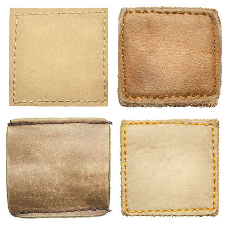 Blank square shape leather jeans labels  photo