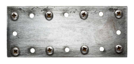 Metal plate texture with screws. photo