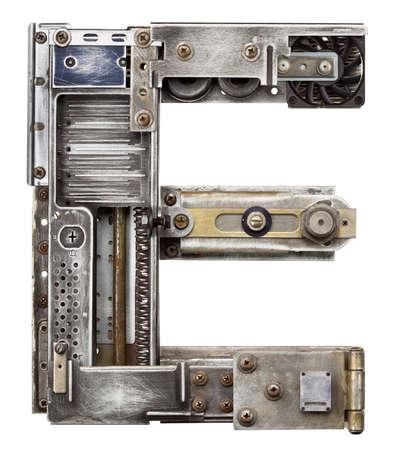 abecedario: Alfabeto letra E Industrial Metal