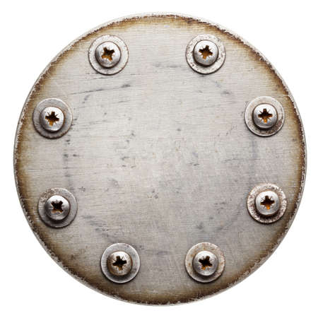 Aged round metal plate texture, background photo