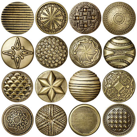 Bronze sewing buttons collection, isolated Stock Photo