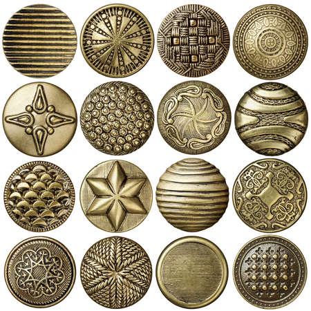 Coser Bronce colección botones, aislado