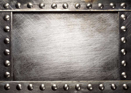 brass plate: Metal plate texture with rivets Stock Photo