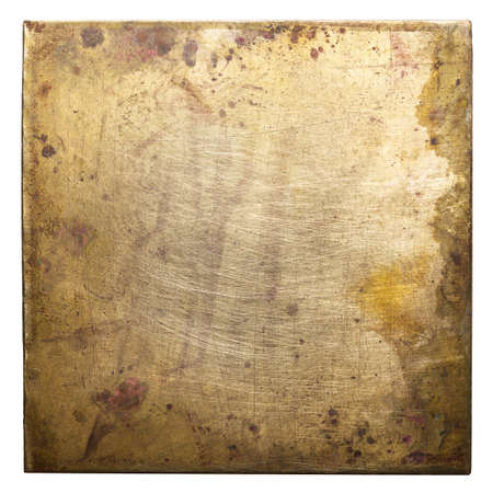 Brass plate texture, old metal background. Imagens