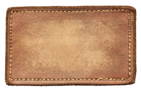 brown leather texture: Blank leather jeans label, isolated.